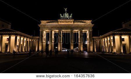 Illuminated Brandenburg Gate at night in Berlin, capital of Germany