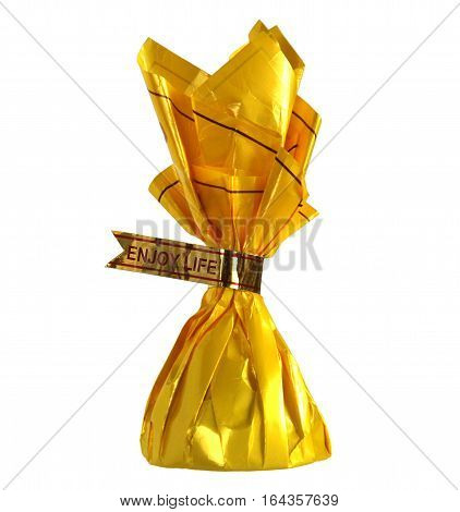 Yellow candy wrapper with words Enjoy life as a concept of congratulations