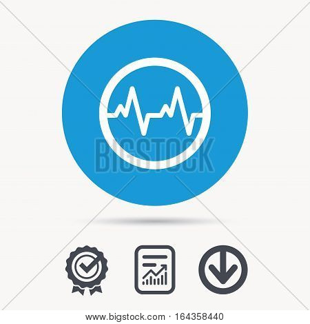 Heartbeat icon. Cardiology symbol. Medical pressure sign. Achievement check, download and report file signs. Circle button with web icon. Vector