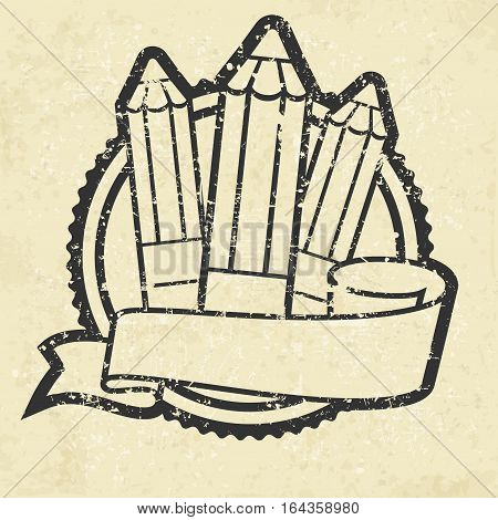 Grange Emblem With Pencils On White