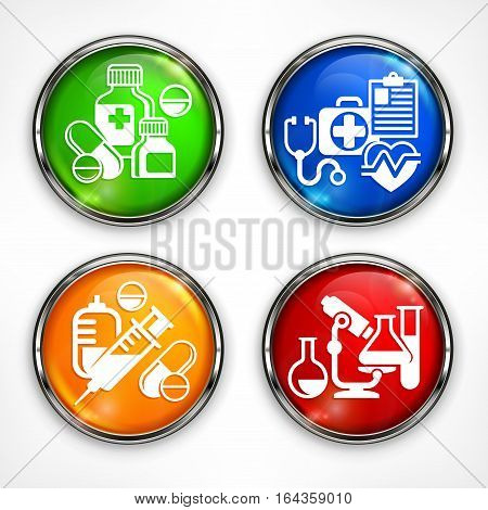 Set Of Color Medicine Circle Icons