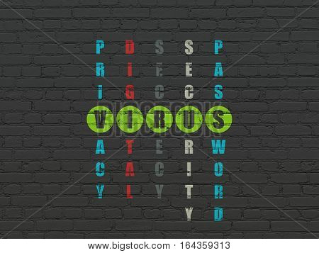 Protection concept: Painted green word Virus in solving Crossword Puzzle
