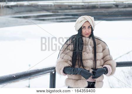 Nice Girl Outdoor In A Winter