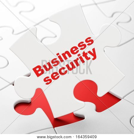 Protection concept: Business Security on White puzzle pieces background, 3D rendering