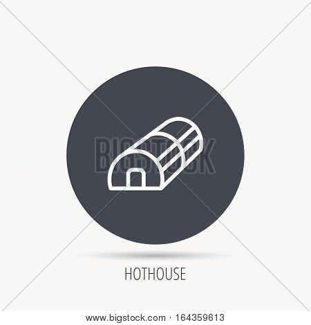 Greenhouse complex icon. Hothouse building sign. Warm house symbol. Round web button with flat icon. Vector