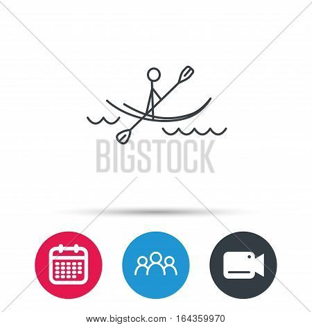 Kayaking on waves icon. Rafting or canoeing sign. Boating sport symbol. Group of people, video cam and calendar icons. Vector