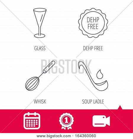 Achievement and video cam signs. Soup ladle, glass and whisk icons. DEHP free linear sign. Calendar icon. Vector
