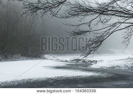 Winter Winding Frozen Lake Snow Covered Landscape