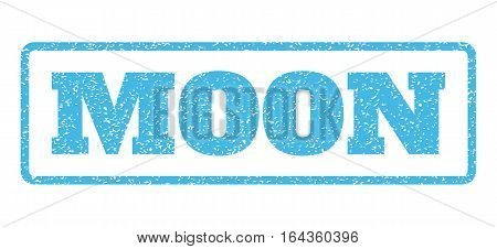Light Blue rubber seal stamp with Moon text. Vector message inside rounded rectangular frame. Grunge design and scratched texture for watermark labels. Horisontal sign on a white background.