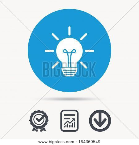 Light bulb icon. Lamp sign. Illumination technology symbol. Achievement check, download and report file signs. Circle button with web icon. Vector