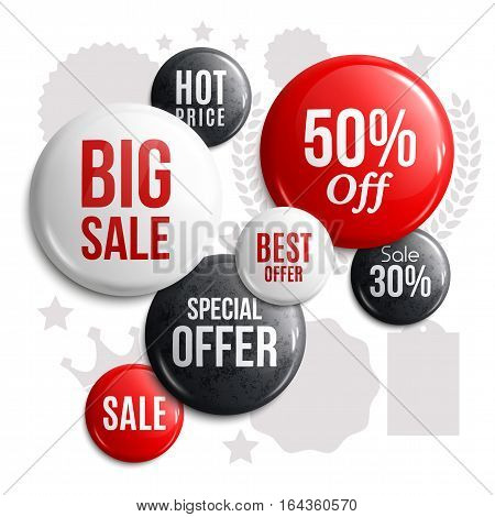 Set of glossy sale buttons or badges. Product promotions. Big sale, special offer, hot price.