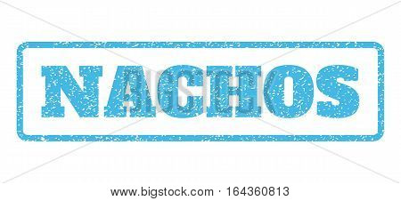 Light Blue rubber seal stamp with Nachos text. Vector tag inside rounded rectangular shape. Grunge design and unclean texture for watermark labels. Horisontal emblem on a white background.