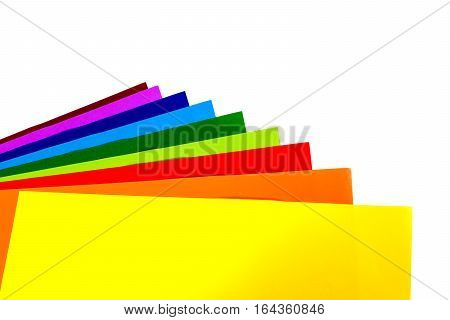 Back to school. Colourful Paper isolated on white