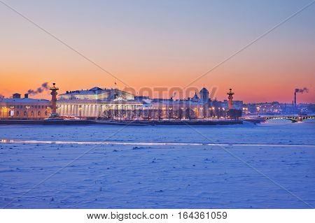 The Stock Exchange and the Rostral Columns. Spit of Vasilievsky Island. Saint-Petersburg. Russia