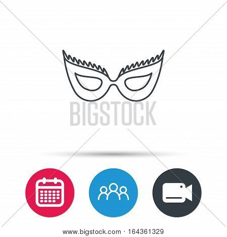 Festive mask icon. Masquerade carnival sign. Anonymous symbol. Group of people, video cam and calendar icons. Vector