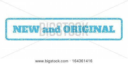Light Blue rubber seal stamp with New and Original text. Vector tag inside rounded rectangular banner. Grunge design and dirty texture for watermark labels. Horisontal sticker on a white background.