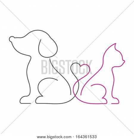 Lovely vector cat and dog thin line icons