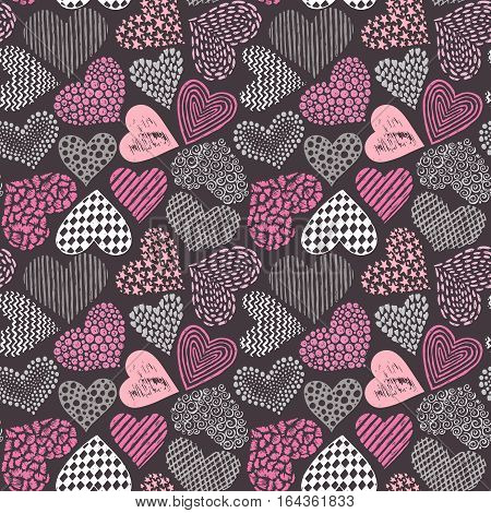 Vector seamless pattern in with hand drawn sketch hearts. Endless background for fabric, textile, wrapping. Valentine Day, Love, wedding, romantic theme for decoration and design.