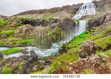 Mountain Path Leading To The Waterfall In Iceland In Summer