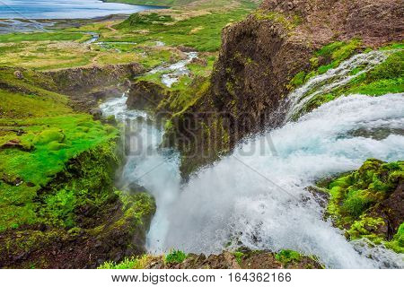 River From Waterfall Dynjandi In Iceland In Summer