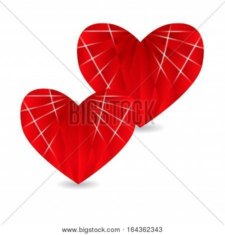 Two ruby red heart with faces and shadow. Valentine's Day. Vector illustration