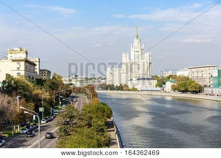 MOSCOW - SEPTEMBER 22 2015: The view of the Kotelnicheskaya embankment on summer day. Kotelnicheskaya Embankment Building is one of seven Stalinist skyscrapers.