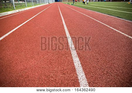 Close up of the lanes on a running track