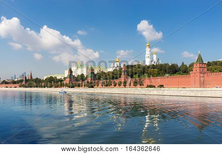 The Grand Kremlin Palace Kremlin wall and Ivan the Great Belltower view from the river