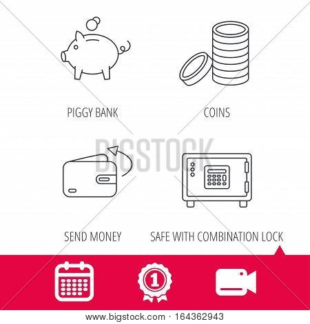 Achievement and video cam signs. Piggy bank, cash money and wallet icons. Safe box, send money linear signs. Calendar icon. Vector