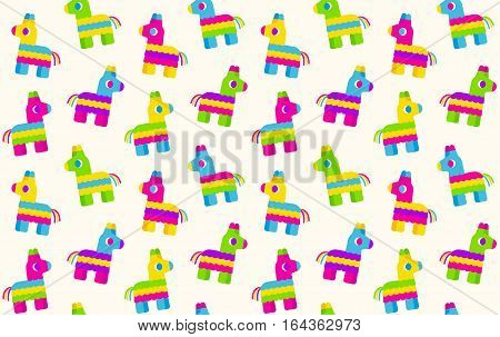 Seamless pattern of cartoon pinatas. Tileable vector background.