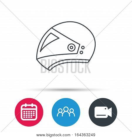 Motorcycle helmet icon. Biking sport sign. Group of people, video cam and calendar icons. Vector