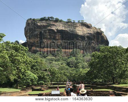 SIGIRIYA, SRI LANKA - DEC 22: The Sigiriya ancient rock fortress in Sri Lanka, as seen on Dec 22, 2016. It is a UNESCO listed World Heritage Site.