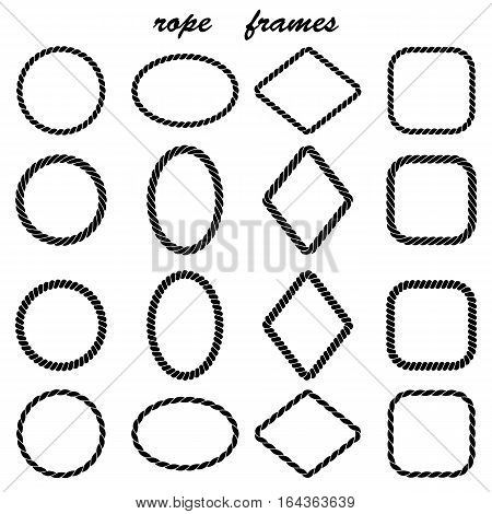 A frame set made of braided rope isolated on white background. Frame in the shape of a circle oval rhombus square