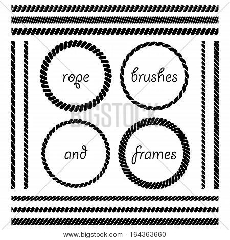 Set of round vector frames from nautical rope isolated on white background. Collection of thick and thin brushes to design frames borders and divider simulating a braided rope. The brush included in the file