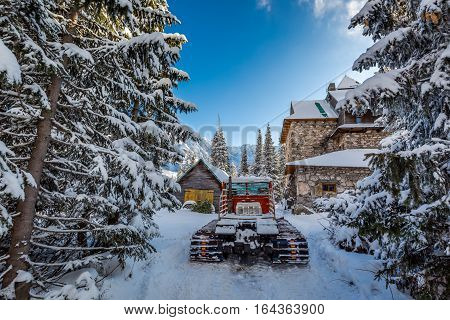 Snow Groomer In Winter In Tatra Mountains
