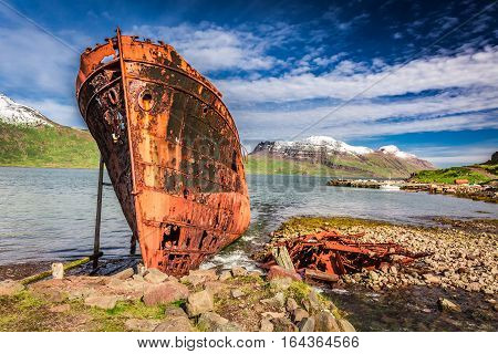 Shipwreck On The Arctic Sea In Iceland In Summer
