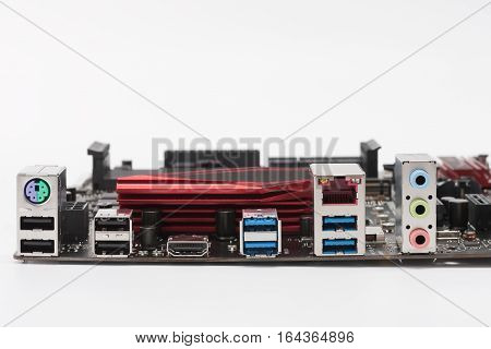 Ports Of  New Motherboard Isolated On White Background