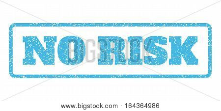 Light Blue rubber seal stamp with No Risk text. Vector tag inside rounded rectangular frame. Grunge design and scratched texture for watermark labels. Horisontal sign on a white background.