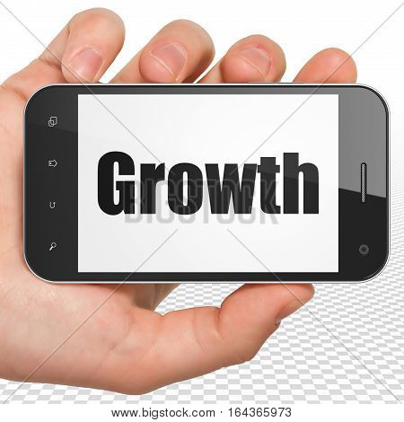 Finance concept: Hand Holding Smartphone with black text Growth on display, 3D rendering