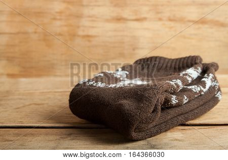 Pair of socks close up on wood desk