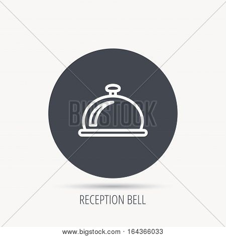 Reception bell icon. Hotel service sign. Round web button with flat icon. Vector