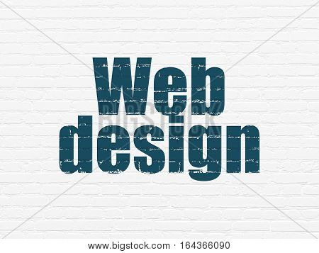 Web development concept: Painted blue text Web Design on White Brick wall background