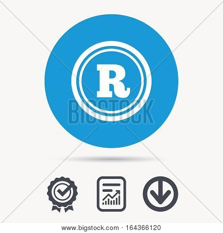 Registered trademark icon. Intellectual work protection symbol. Achievement check, download and report file signs. Circle button with web icon. Vector