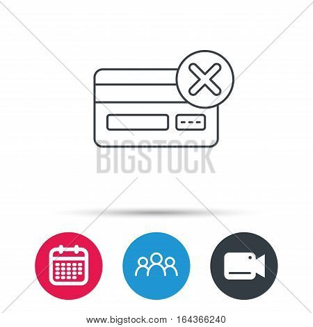 Remove credit card icon. Shopping sign. Group of people, video cam and calendar icons. Vector