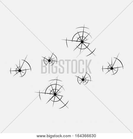 icon bullet holes in the glass holes shot fully editable vector image