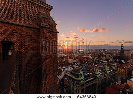 View on the central part of Wroclaw from