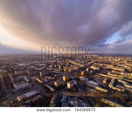 View on the central part of Wroclaw from Sky tower Poland Europe.