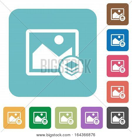 Image layers white flat icons on color rounded square backgrounds