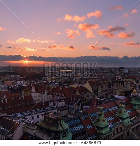 View on the Wroclaw during sunset from