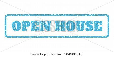 Light Blue rubber seal stamp with Open House text. Vector message inside rounded rectangular banner. Grunge design and dust texture for watermark labels. Horisontal emblem on a white background.